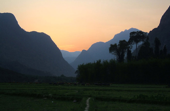 Muang Ngoy Laos  city pictures gallery : Sunset view in Muang Ngoy Kao, upper Laos